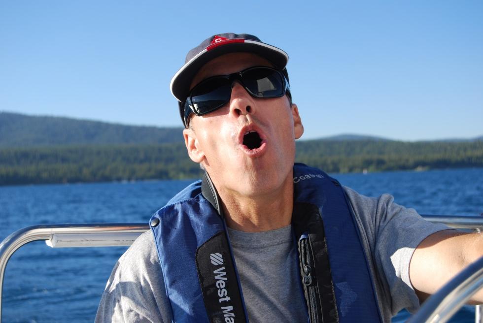 Matt being his usual goofy self, aboard Splendido at Lake Tahoe.