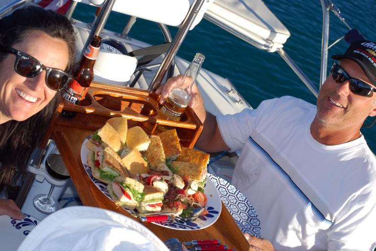 Krista and Ron enjoying Tahoe sailing food
