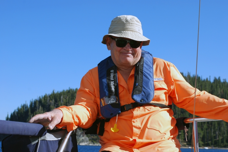 Mike Bryant, Ph.D. enjoying the cat-bird's seat aboard Splendido at Lake Tahoe, July 16, 2016.