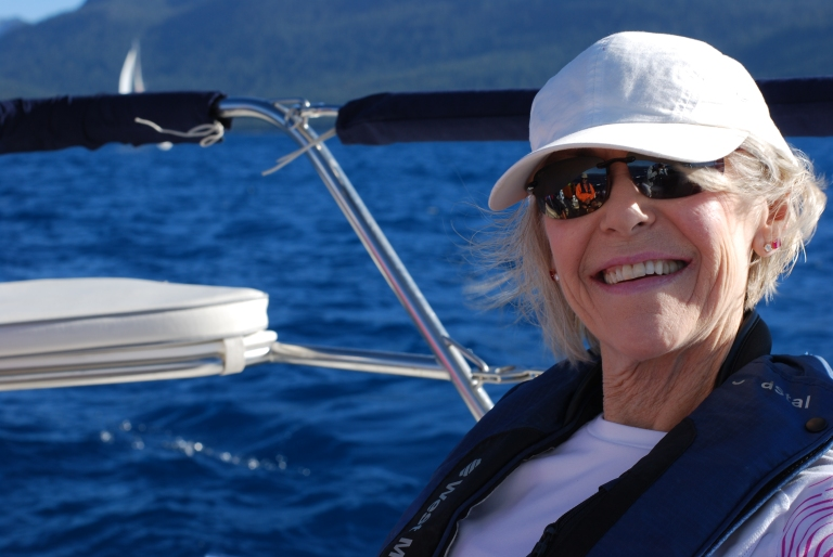 Patty Bell enjoying balmy breezes aboard Splendido at Lake Tahoe, July 16, 2016.